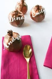 thanksgiving table name cards diy gilded pomegranate place cards salty canary
