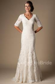 vintage ivory wedding dress ivory vintage lace mermaid modest wedding dresses with half