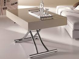 glossy cream height adjustable extending coffee table box on white