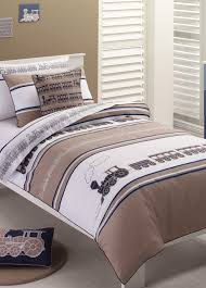 tranquillity and whimsy steam train navy single quilt cover set