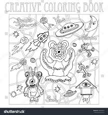 space travel antistress coloring page adults stock vector