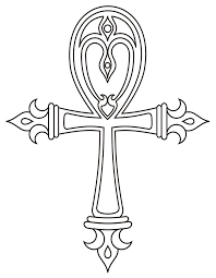 outline ankh cross tattoo design
