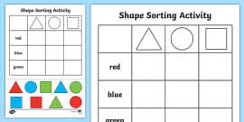 right angles shape sorting activity right angles shape