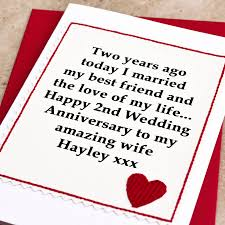 Wedding Gift For Second Marriage Personalised 2nd Wedding Anniversary Card By Jenny Arnott Cards