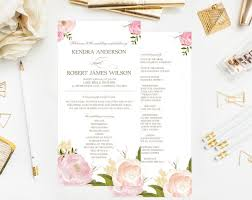 vintage wedding programs printable wedding programs watercolor peonies and roses