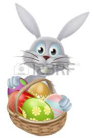 Easter Egg Basket Decorations by An Easter Bunny Rabbit With A Basket Of Decorated Painted
