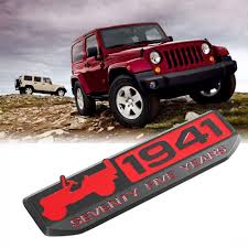 red jeep 2016 75 years since 1941 red anniversary car emblem for jeep wrangler