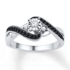black diamond promise ring diamond promise ring 1 4 ct tw black white sterling silver
