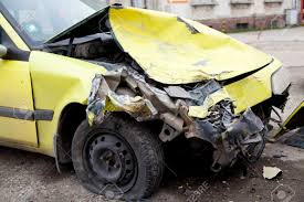 traffic accident yellow crashed car stock photo picture and