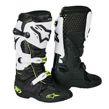 black motocross boots alpinestars mx boots tech 10 black white 2018 maciag offroad