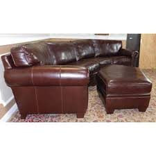 Sectional Sofa With Ottoman 3 Bernhardt Brown Leather Sectional Sofa Ottoman Chairish