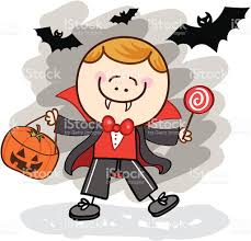 kid with vampire halloween costume cartoon illustration stock