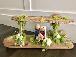 Driftwood Nativity With Moss Rustic Home Decor New Home
