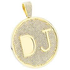 customized pendants custom 10k yellow gold diamond dj pendant for men with initials