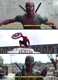 Funny Superhero Memes - 9gag on twitter perfect landing spidey deadpool approves
