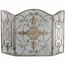 lovely antique wrought iron fireplace screen with leaf claudette