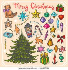 vector color illustration christmas treechristmas toystext stock
