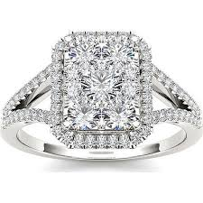 walmart white gold engagement rings imperial 1 carat t w cluster 10kt white gold engagement