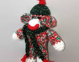 sock monkey ornaments etsy