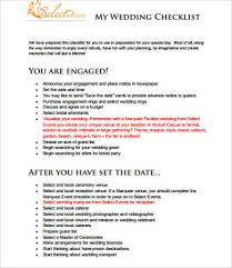 preparation of event plan for wedding printable wedding checklist 9 free pdf documents