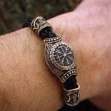 hand made bracelet images Bronze vegvisir handmade bracelet with wolf heads vikingsbrand jpg