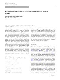 copy number variants at williams beuren syndrome 7q11 23 region