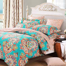 teal blue pink and red baroque style bohemian chic tribal print