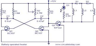 battery operated heater electronic circuits and diagram