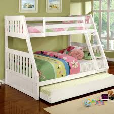 white painted maple wood trundle bunk bed with colorful patterned
