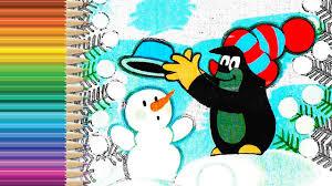 little mole krtek ft snowman and little bunny coloring pages