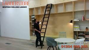 Bookcase Ladder Hardware by Ladderstore Bespoke Rolling Ladder Demonstration Youtube