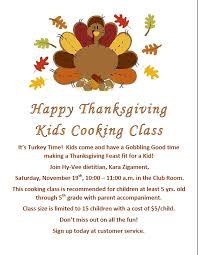 hy vee thanksgiving happy thanksgiving kids cooking class hyvee muscatine