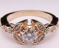 antique gold engagement rings vintage gold engagement rings with elegan design 624x509