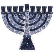 blue ceramic menorah holidays except christmas