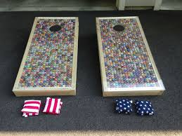 bottle cap necklaces for sale hand made custom corn hole baggo set by bar nun builders