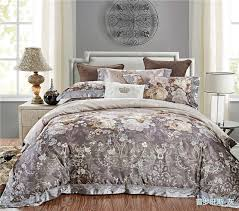 Upscale Bedding Sets 4 Pieces Grey Jacquard Silk Cotton Luxury Bedding Set King Size