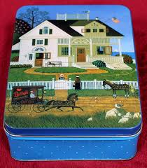 charles wysocki pickwick cottage metal tin with note cards