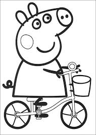 peppa pig coloring pages cycling coloringstar