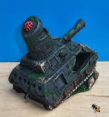 army tank wreck rocks air bubbler aquarium ornament fish decorati