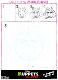 how to draw the muppets kermit miss piggy animal fozzie bear