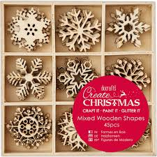 docrafts create christmas 3cm snowflakes mixed wooden shapes 45