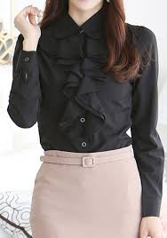 black ruffle blouse black ruffle buttons pan collar sleeve office worker