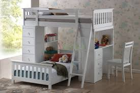 Wooden Bunk Bed With Desk Bed Bath White Wooden Loft Bunk Beds With Desk And Storage For