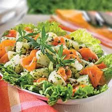 sarriette cuisine salade de pommes de terre à la truite fumée et sarriette recettes