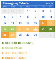the cheapest days for flights this thanksgiving cheapair