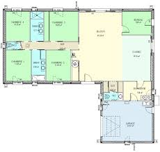 plan maison plain pied en l 4 chambres cuisine construction fr plan maison plain pied de type plan