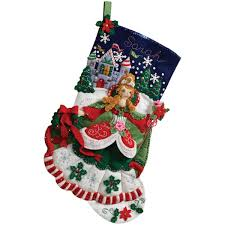 amazon com bucilla 18 inch christmas stocking felt applique kit