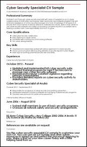 Resume For Security Jobs by Cyber Security Specialist Cv Sample Myperfectcv