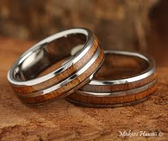 Hawaiian Wedding Rings by Koa Wood Inlaid Hawaiian Wedding Band 6mm Makani Hawaii Hawaiian