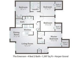 Bathroom And Walk In Closet Floor Plans 4 Bedroom Apartment Floor Plans U0026 Pricing U2013 Harper Grand Orlando Fl